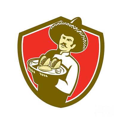 Waiter Digital Art - Mexican Chef Cook Serving Taco Plate Shield by Aloysius Patrimonio