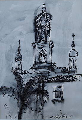 Drawing - Mexican Church by E Colin Williams ARCA
