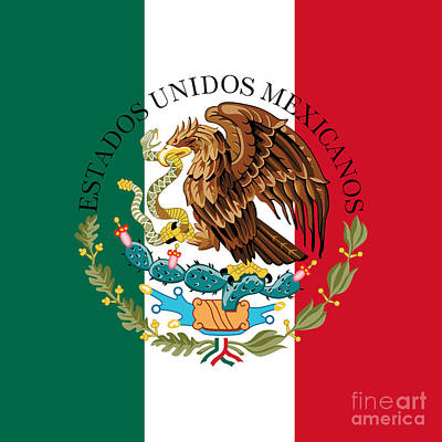 Mexican Flag And Coat Of Arms  Art Print