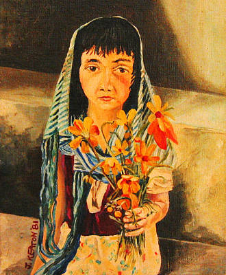 Painting - Mexican Flower Girl by John Keaton