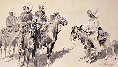 Wild Horses Drawing - Mexican Gendarmes Asking The Way by Frederic Remington
