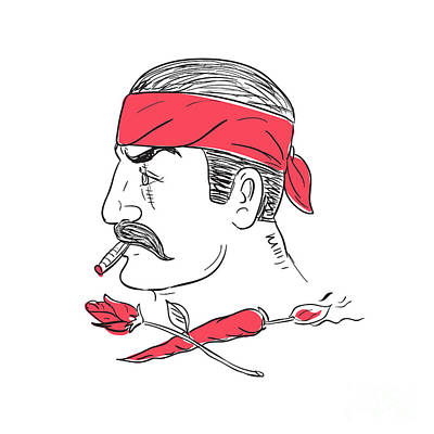 Mexican Guy Cigar Hot Chili Rose Drawing Art Print