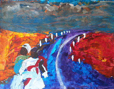 Mexican Landscape Painting - Mexican Landscape Women by Francis Lee