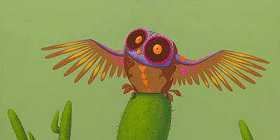 Retro Painting - Mexican Owl by Jasper Oostland