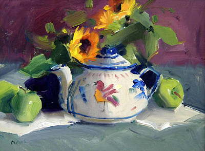 Floral Still Life Painting - Mexican Pottery by Judy Crowe