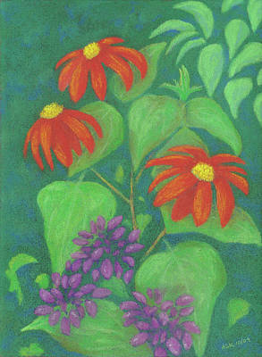 Pastel - Mexican Sunflowers And Cleome by Anne Katzeff