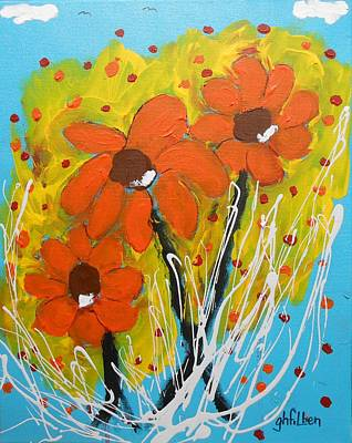 Painting - Mexican Sunflowers Flower Garden by Gh FiLben