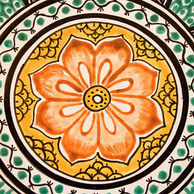 Handcrafted Photograph - Mexican Tile Detail by Carol Leigh