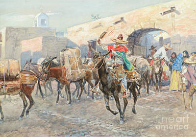 Mexican Town Painting - Mexicans Leaving An Inn by Charles M Russell