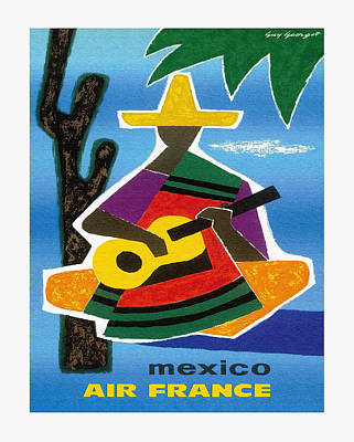 Poncho Digital Art - Mexico Air France Mexican Guitar Player In Sombrero And Pancho Vintage Travel Poster by Retro Graphics