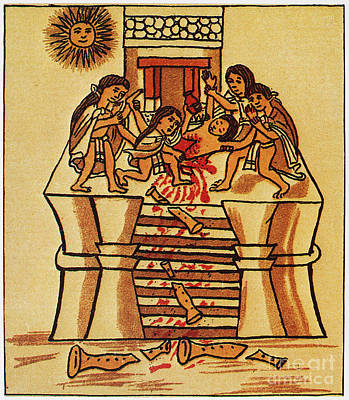 Human Sacrifice Photograph - Mexico: Aztec Sacrifice by Granger