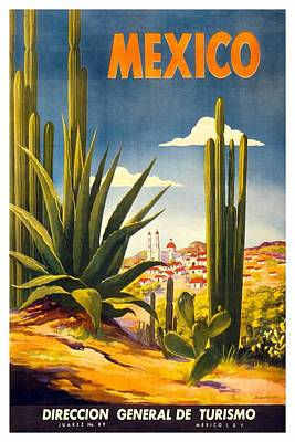 Royalty-Free and Rights-Managed Images - Mexico - Cactus With Mexican Village - Retro travel Poster - Vintage Poster by Studio Grafiikka