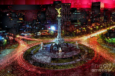 Digital Art - Mexico City D.f At Night by Rafael Salazar