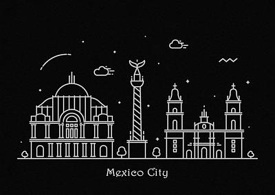 Drawing - Mexico City Skyline Travel Poster by Inspirowl Design