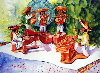 Mexican Decoration Painting - Mexico Mariachis by Estela Robles