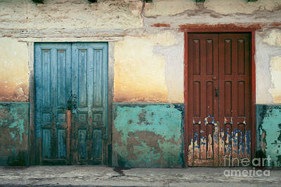 Photograph - Mexico Street Abstract Photograph - Mexican Blue And Red Doors by Sharon Hudson