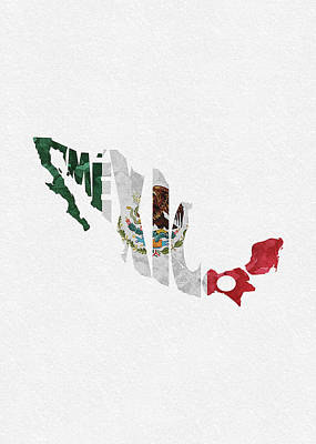 Digital Art - Mexico Typographic Map Flag by Inspirowl Design