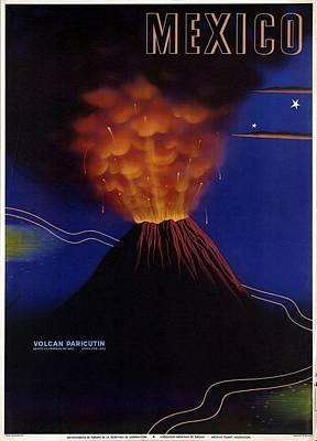 Mixed Media - Mexico Volcan Paricutin 1943 - Retro Travel Poster - Vintage Poster by Studio Grafiikka