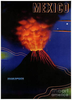 Mixed Media - Mexico Volcano Paricutin Vintage Poster Restored by Carsten Reisinger