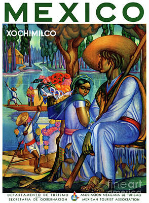 Mixed Media - Mexico Xochimilco Vintage Poster Restored by Carsten Reisinger