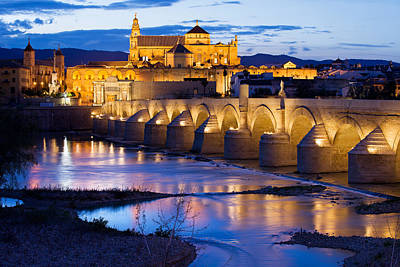 Cathedral Mosque And Roman Bridge In Cordoba Art Print