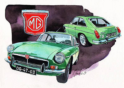 British Classic Cars Painting - Mg Bgt by Yoshiharu Miyakawa