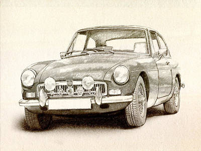 Vehicles Drawing - Mg Mgb Mkii by Michael Tompsett