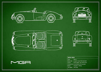 Vintage Mg Photograph - Mga Mk1 Blueprint - Green by Mark Rogan