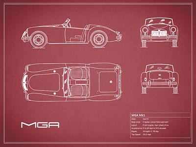 Car Photograph - Mga Mk1 Blueprint - Red by Mark Rogan