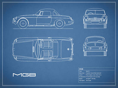 Printed Photograph - Mgb Blueprint by Mark Rogan