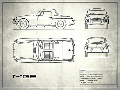 Vintage Mg Photograph - Mgb Blueprint - White by Mark Rogan
