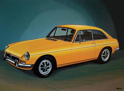 Mgb Gt 1966 Painting  Art Print by Paul Meijering