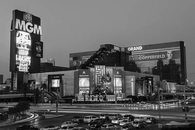 Photograph - Mgm Casino Vegas Black And White by John McGraw