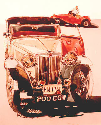 Mg's--cars At Rally Art Print by Linda Crockett