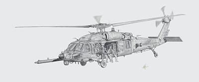 Helicopter Drawing - Mh60 With Gun by Nicholas Linehan