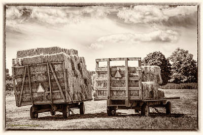 Photograph - Mi Square Hay Bales Monochrome by LeeAnn McLaneGoetz McLaneGoetzStudioLLCcom