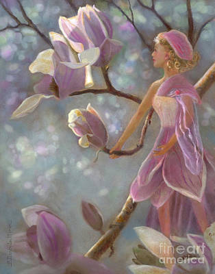 Painting - Mia Magnolia Fairy by Nancy Lee Moran