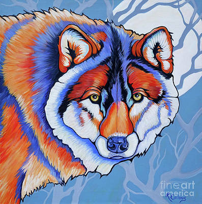 Wolf Eyes Painting - Miakoda Power Of The Moon by Rose Collins
