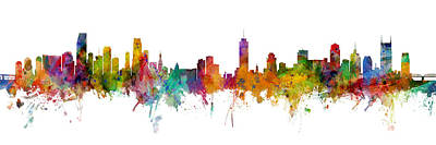 Digital Art - Miami And Nashville Skylines Mashup by Michael Tompsett