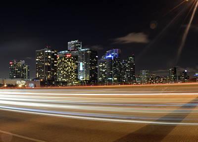 Photograph - Miami at Night by Juan Trujillo