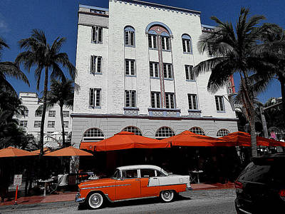 Drawing - Ocean Drive Hotel - Miami Beach Florida by Peter Potter