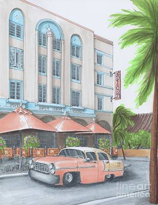 Miami Drawing - Miami Beach Florida, Walking Ocean Drive  by Elena Belyaeva