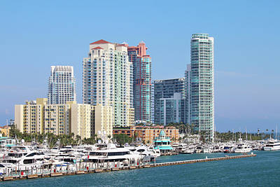 Photograph - Miami Beach Marina by Art Block Collections