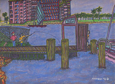 Fischer Boat Painting - Miami Beach Marina by Hannah Lasky