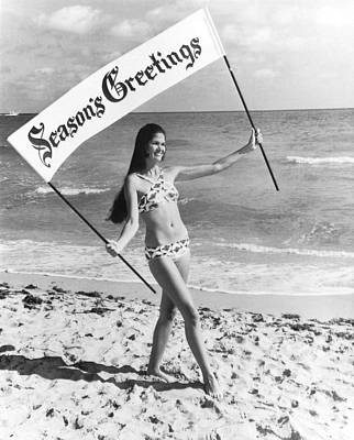 Beautiful Western Women Photograph - Miami Beach Season's Greetings by Underwood Archives