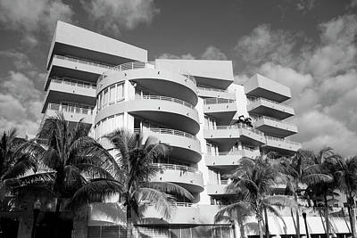 Photograph - Miami Beach South Beach Art Deco Condos Black And White by Toby McGuire