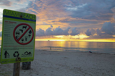 Photograph - Miami Beach Sunrise by Dart and Suze Humeston