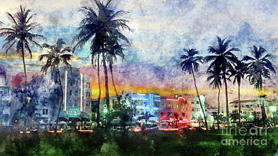 Miami Skyline Photograph - Miami Beach Watercolor by Jon Neidert