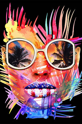 Digital Art - Miami Bitch Black by JanRafael