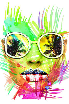 Digital Art - Miami Bitch White by JanRafael